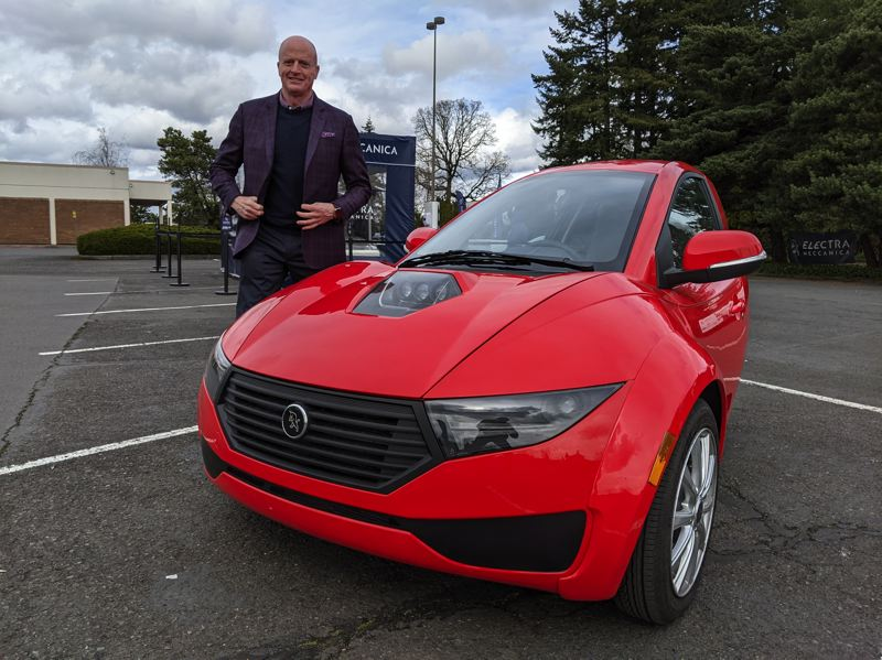 PMG PHOTO: JOSEPH GALLIVAN - ElectraMeccanica CEO Paul Rivera came to Portland when Solo EV test driver were offered at Washington Square.