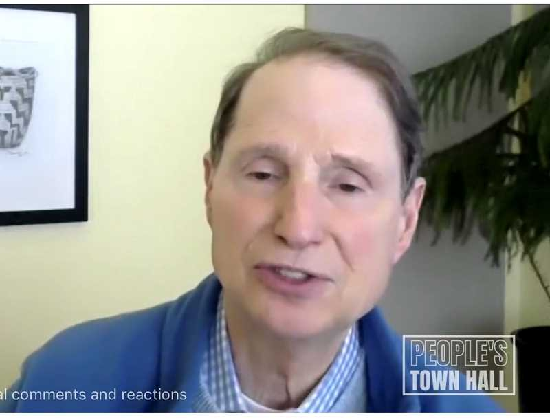 HOLLY SCHOLZ/MADRAS PIONEER - Oregon Sen. Ron Wyden held a virtual town hall in Jefferson County April 5.