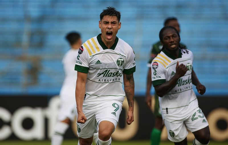 COURTESY PHOTO: CRAIG MITCHELLDYER/PORTLAND TIMBERS - Felipe Mora reacts after scoring the first goal for the Timbers in Tuesday's 2-2 draw with C.D. Marathon in Concacaf Champions League play at San Pedro Sula, Honduras.