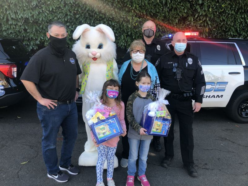 PMG PHOTO: ALISA APPLEGATE - Joey and Olivia were two of the Easter basket winners for their great coloring skills.