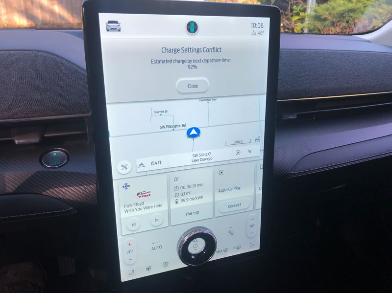 PMG PHOTO: JEFF ZURSCHMEIDE - The display tablet in the 2021 Mustang Mach-E offers multiple screens that manages everything from the stereo to the drive modes.
