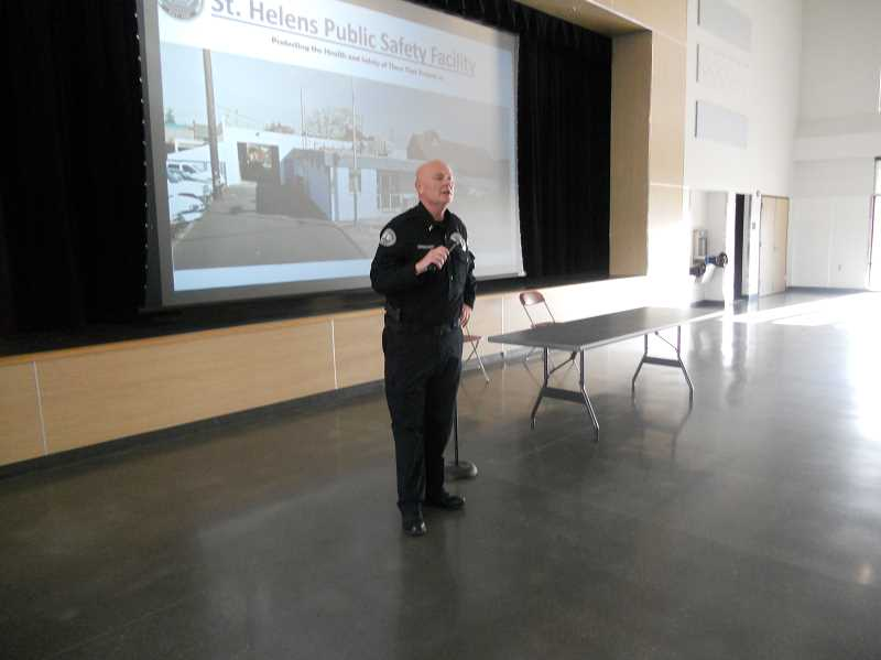 PMG PHOTO: SCOTT KEITH - St. Helens Police Chief Brian Greenway addresses an in-person meeting on the proposed public safety building in St. Helens.