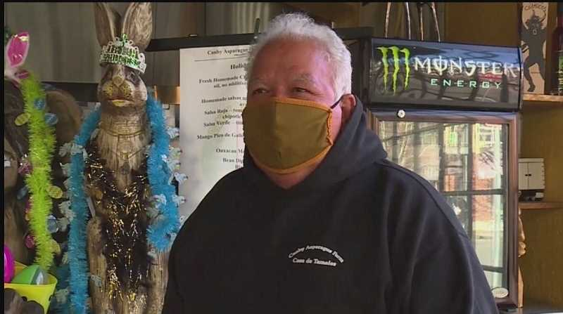 PHOTO COURTESY: KOIN 6 NEWS - Charles Maes of Casa de Tamales in Milwaukie spoke out against new restrictions on business owners in Clackamas County.