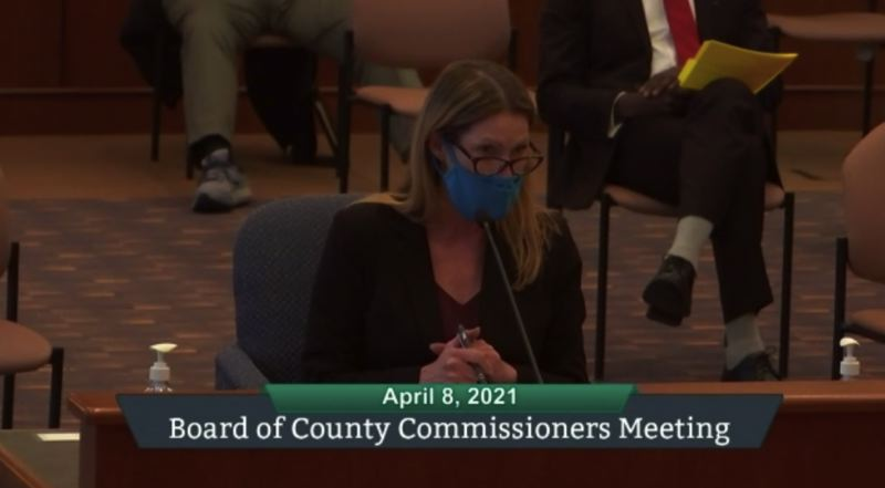SCREENSHOT - ZOOM - North Clackamas Chamber of Commerce Executive Director Laura Edmonds testifies in front of the Clackamas Board of County Commissioners Thursday, April 8, regarding the county's COVID-19 risk level and the lack of a two-week warning period that took many by surprise.