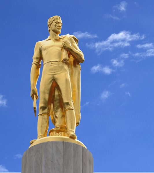 FILE - The Oregon Pioneer  statue stands atop the dome of the Oregon State Capitol in Salem.