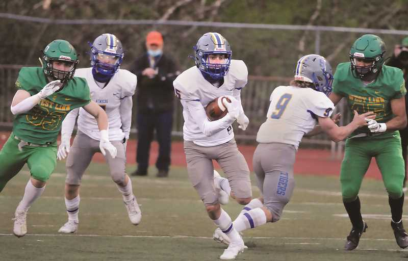 PMG PHOTO: GARY ALLEN - NHS senior wideout Owen Hawley returned a kickoff to the opposing 21, setting up a nine-yard touchdown pass from junior Levi Durrell to junior Sam Murphy.