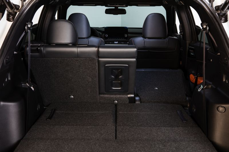 PMG PHOTO: JEFF ZURSCHMEIDE - Cargo space in the 2022 Mitsubishi Outlander is impressive with the third roww of seats folded down.