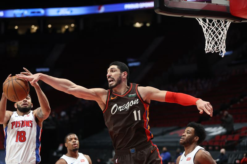 COURTESY PHOTO: BRUCE ELY/TRAIL BLAZERS - Enes Kanter grabbed 30 rebounds Saturday against Detroit, setting a new franchise record.