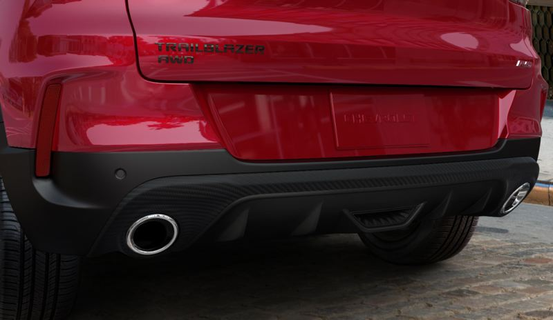 COURTESY CHEVY - Twin exhaust tips help give the 2021 Chevy Trailblazer AWD RS a sporty look.