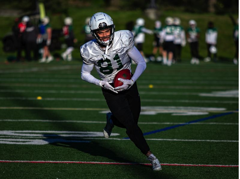 COURTESY PHOTO: MEGAN CONNELLY/PSU ATHLETICS - Pictured at an April 9 practice, Mataio Talalemotu, a junior out of Beaverton High, is part of a deep group of receivers for Portland State.