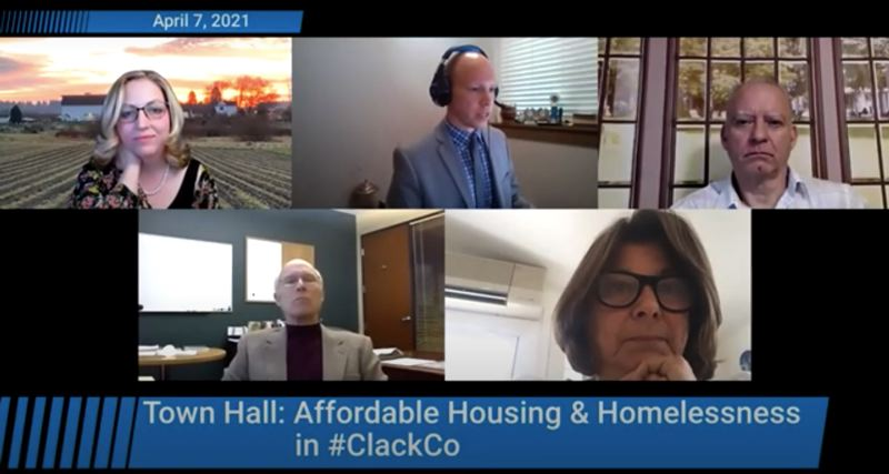 SCREENSHOT: YOUTUBE - Clackamas County Commissioners listen to community concerns during a virtual town hall meeting focused on homelessness and affordable housing.