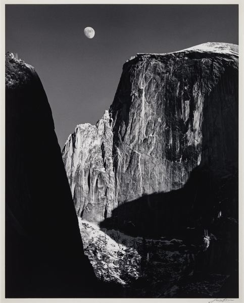 PHOTO: ANSEL ADAMS - Ansel Adams 'Moon and Half Dome' taken at Yosemite  is part of the show Ansel Adams In Our Time at the Portland Art Museum, opening April 28 2021.