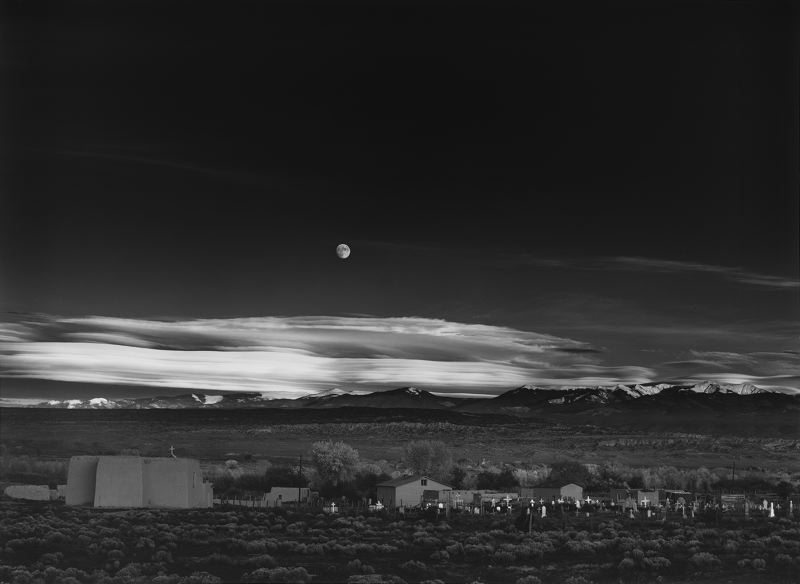 PHOTO: ANSEL ADAMS - Moonrise Hernandez is classic Ansel Adams photography, using long exposures to combine clouds with rock.