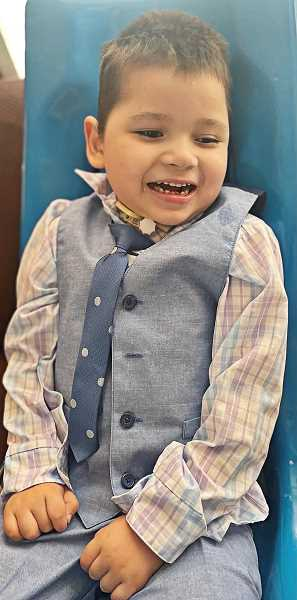 PHOTO COURTESY OF TINA JORGENSEN - Ezra Thomas was 2 when his mother's boyfriend attacked him, leaving him severely handicapped. An effort to establish a law to mandate minimum sentences for acts permanently injuring victims has been dropped by the Oregon Legislature.