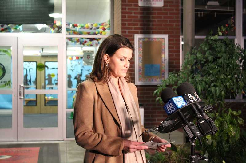 PMG FILE PHOTO  - De la Cruz announces the reopening of Forest Hills Elementary early in the morning March 5.