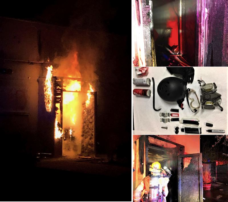 VIA PPB - Photos show the fire that damaged the Portland Police Bureau's union building in North Portland on Tuesday night, April 13, as well as items that were allegedly confiscated from Alma Raven-Guido.