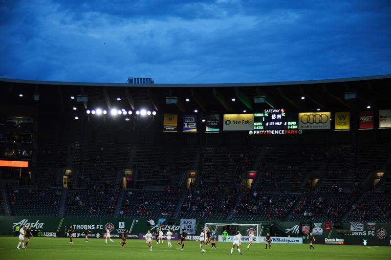 COURTESY PHOTO: CRAIG MITCHELLDYER/PORTLAND THORNS FC - For the first time since the fall of 2019, a limited number of fans were allowed at Providence Park on April 9 to watch the Portland Thorns take on Kansas City. Portland won 2-1 in its first NWSL Challenge Cup match.