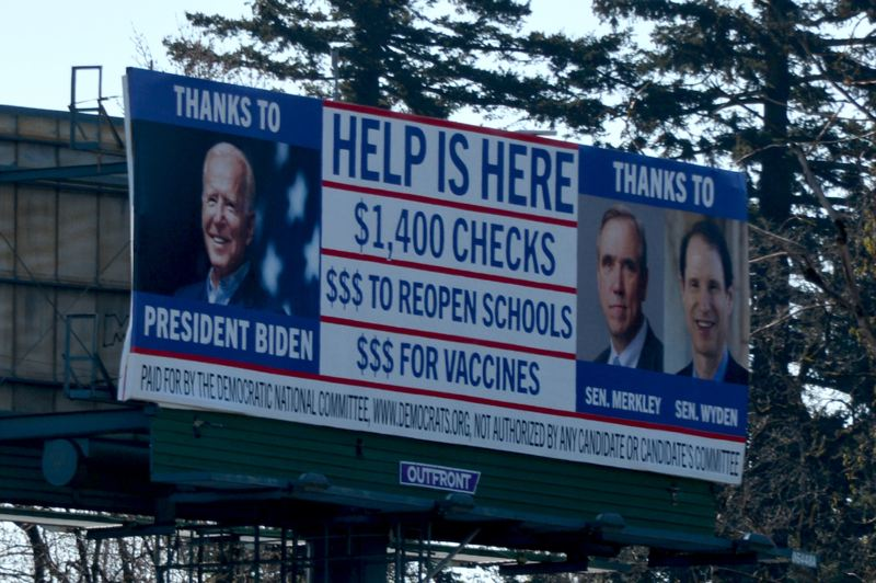 SUBMITTED PHOTO - The Democratic National Committee has purchased a new billboard with a blatant message for drivers on Interstate 84 passing through East Multnomah County.