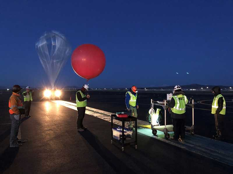 PHOTO COURTESY OF NEAR SPACE CORPORATION - On Thursday morning, crews from Near Space Corporation launched a helium balloon from the Madras Airport as an experiment for NASA.