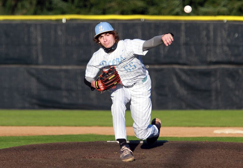 PMG PHOTO: MILES VANCE - Lakeridge sophomore pitcher Paul Wilson threw four no-hit innings during his team's 26-0 win over Tigard at Lakeridge High School on Wednesday, April 14.