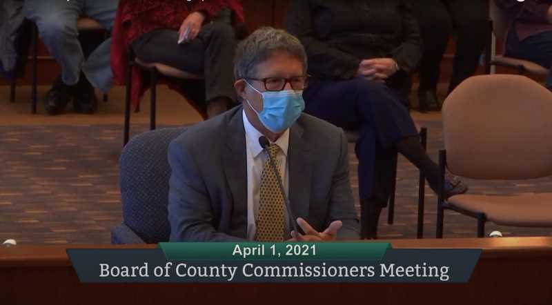 PMG SCREENSHOT: ZOOM - John DiLorenzo, partner at Davis Wright Tremaine law firm, speaks to the Clackamas Board of County Commissioners on Thursday, April 1, regarding proposed ordinance changes that would allow him to take legal action on behalf of county waste ratepayers against Metro.