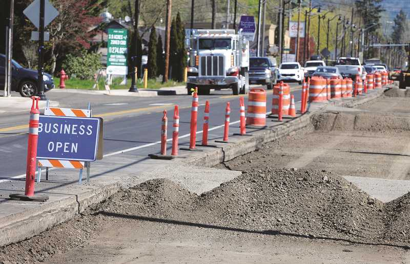 PMG PHOTO: GARY ALLEN - Highway 99W will remain torn up for several more months as a contractor for the Oregon Department of Transportation reconstructs the thoroughfare through Dundee.
