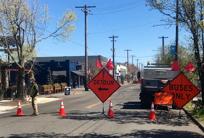 PMG PHOTO: ZANE SPARLING - Expect detours on Northeast Fremont Street through April as the Portland Bureau of Transportation repaves another stretch of the corridor.