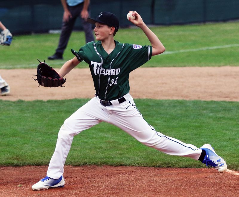 PMG FILE PHOTO: DAN BROOD - Tigard's Alex Pearson throws a pitch during play at the 2019 District 4 Little League Majors tournament semifinal contest at Alpenrose.