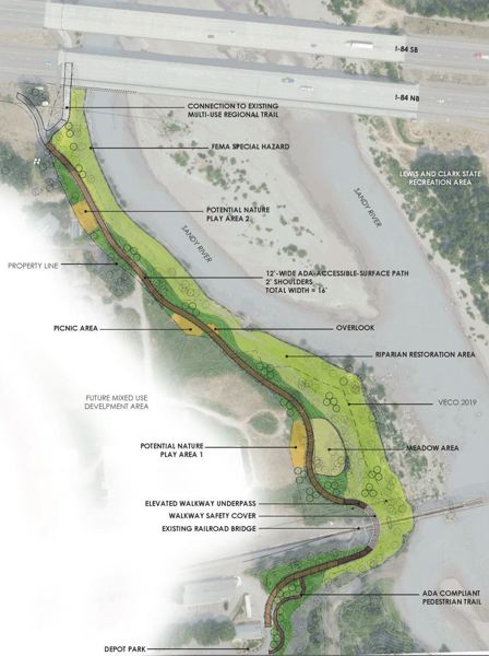COURTESY PHOTO: CITY OF TROUTDALE - Troutdale is planning a trail and park to link downtown with The Confluence Site, once home to a wool factory and waserwater treatment plant.