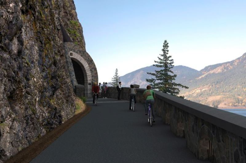 COURTESY PHOTO: ODOT - Groundbreaking has begun to bring back Mitchell Point Tunnel to the Columbia River Gorge.