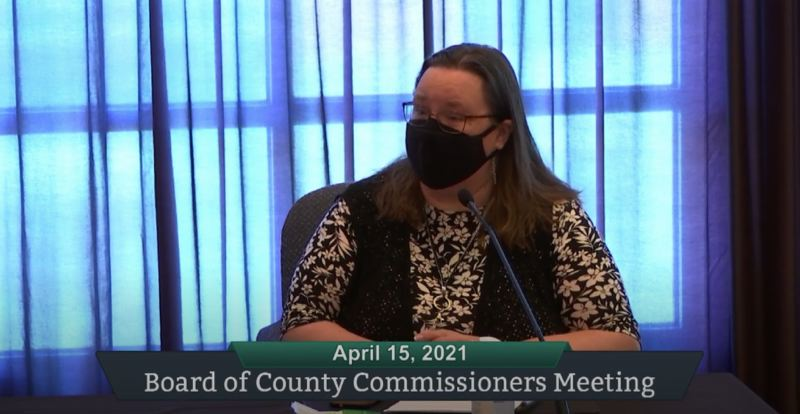 PMG SCREENSHOT: ZOOM - Clackamas County 911 Communications Director Cheryl Bledsoe appears before county commissioners to honor dispatchers.