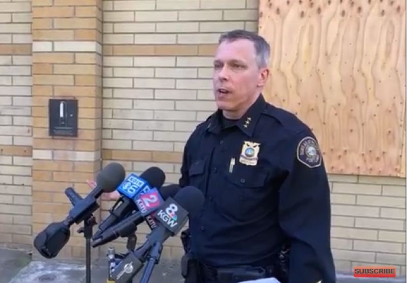 COURTESY PPB LIVESTREAM - Deputy Police Chief Chris Davis spoke to reporters about the shooting during  press conference that began at 12:30 p.m. on April 16.