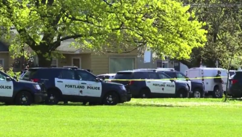 COURTESY KOIN 6 NEWS - The scene of the officer involved shooting Friday in Lents Park.