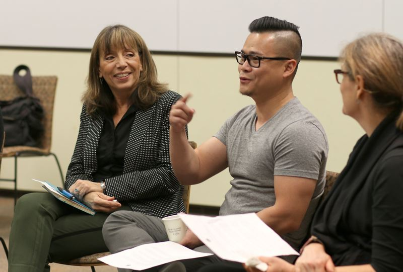 COURTESY PHOTO: PORTLAND COMMUNITY COLLEGE - Sylvia Kelley (left), executive vice president of Portland Community College, talks with staff during a strategic planning listening session. The college's new plan was approved in November 2020.