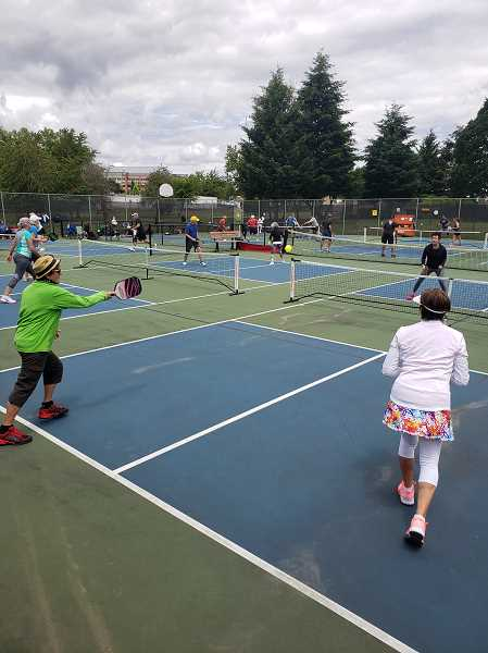 COURTESY PHOTO - Oregon City's Hillendale Park sports courts are the site of daily play for the pickleball-club members.