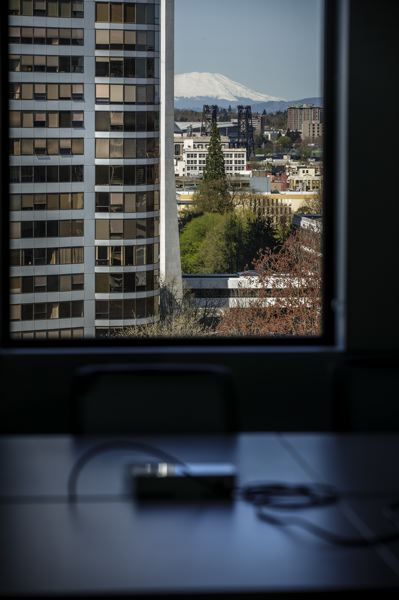 PMG PHOTO: JONATHAN HOUSE - Views of Mount Saint Helens from a conference room inside PSU's new Vanport Building.