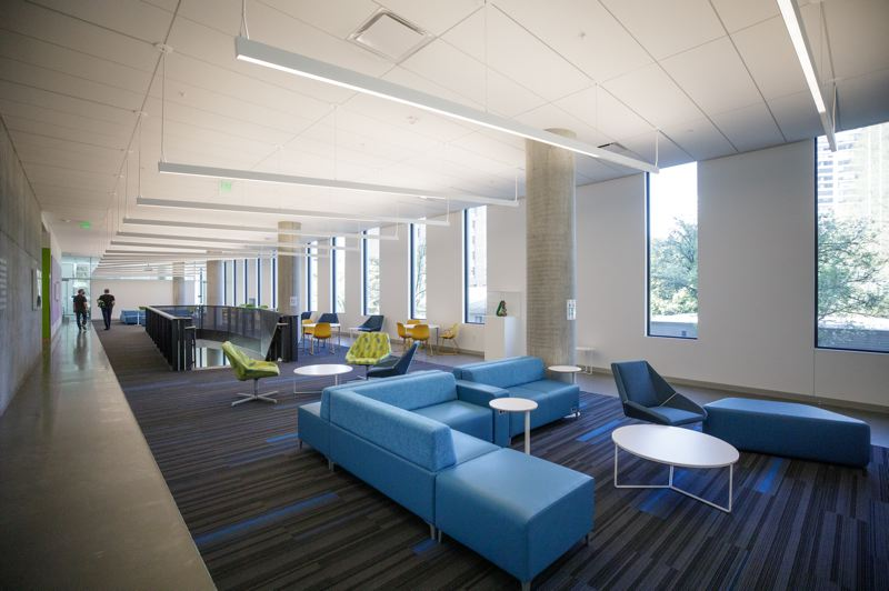 PMG PHOTO: JONATHAN HOUSE - A common area inside PSU's new Vanport Building. Student lounges are in, large teaching auditoriums are out.