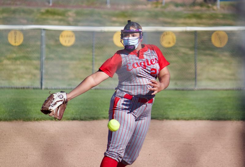 PMG PHOTO: CHRISTOPHER KEIZUR - Centennial lefty pitcher Anissa McGowan has been an early bright spot for the Eagles as they excitedly dive into the season.