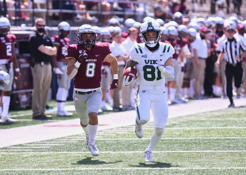 COURTESY PHOTO: BLAKE HEMPSTEAD/SKYLINE SPORTS - This third-quarter touchdown by Mataio Talalemotu was the highlight for Porland State in a 48-7 loss on Saturday at Montana in a spring football game at Missoula, Montana.