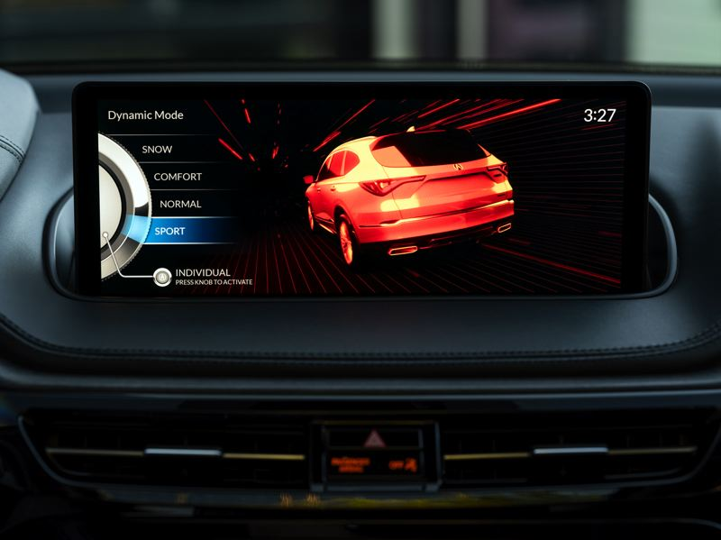 COURTESY ACURA - The 12.3-inch display screen in the 2020 Acura MDX is mounted high on the dash where it is easier to read.