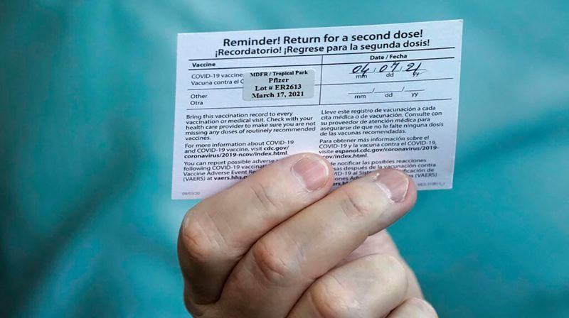 COURTESY KOIN 6 NEWS - A COVID-19 vaccination card.