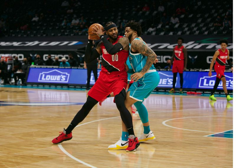 COURTESY PHOTO: TRAIL BLAZERS - Carmelo Anthony had 24 points, but Charlotte led almost the entire game in beating the Trail Blazers 109-101 Sunday.