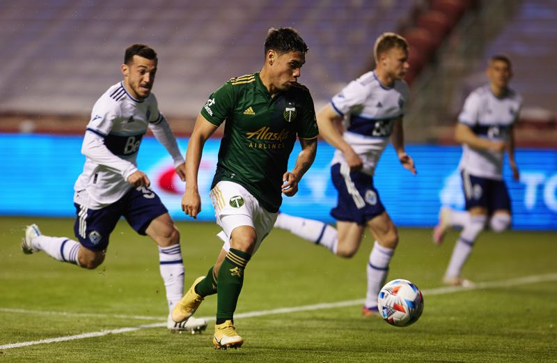 COURTESY PHOTO: CRAIG MITCHELLDYER/PORTLAND TIMBERS - Felipe Mora and the Portland Timbers had their chances to score in Sunday's MLS season opener but lost 1-0 to the Vancouver Whitecaps in a match played at Rio Tinto Stadium in Sandy, Utah.