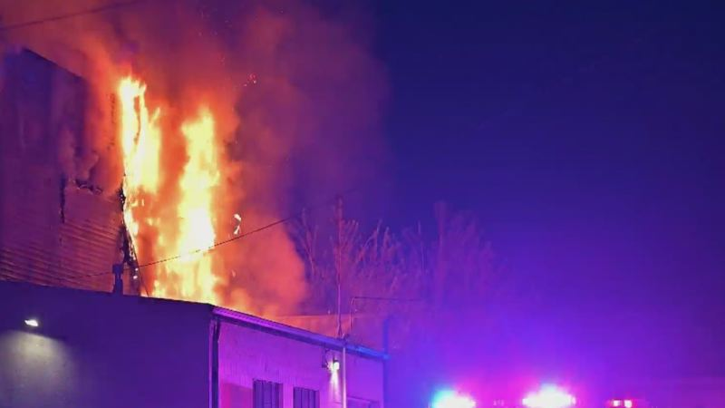 COURTESY PHOTO: KOIN 6 NEWS - The scene of the Monday morning fire in Southeast Portland.