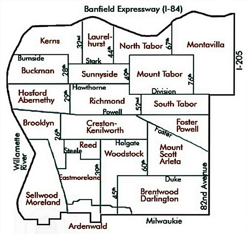 COURTESY OF SOUTHEAST UPLIFT - Here's the map showing all the Neighborhood Associations in Inner Southeast Portland.