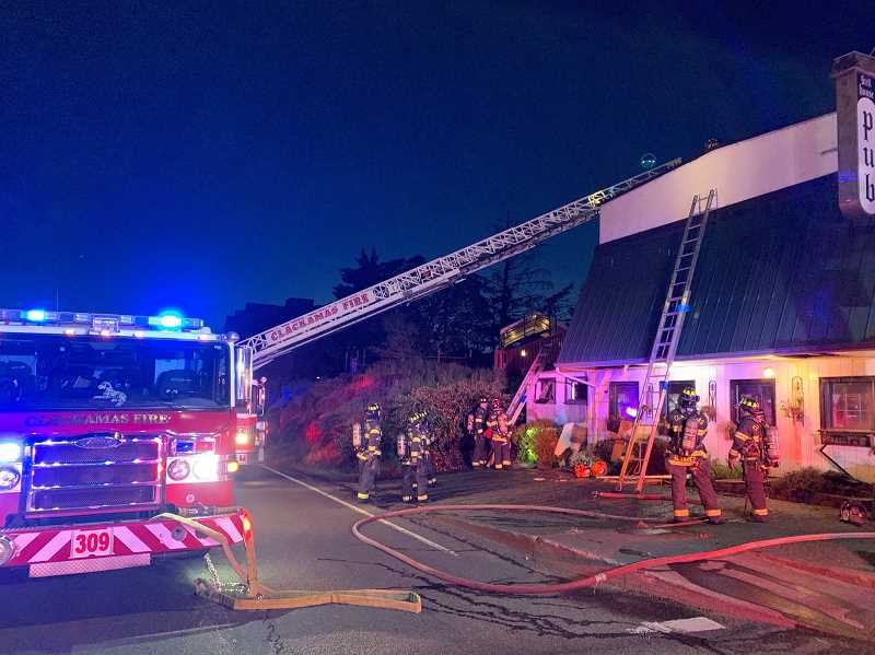 PHOTO COURTESY: CLACKAMAS FIRE - Firefighters were able to quickly put out a blaze at the Highland Stillhouse Pub, 201 Second St., Oregon City.