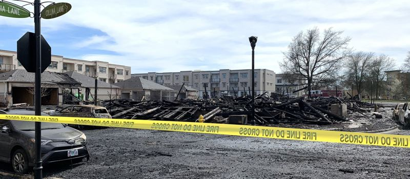 COURTESY PHOTO - Investigators have yet to determine the cause of a fire that took place at a Villebois condominium complex in 2019.