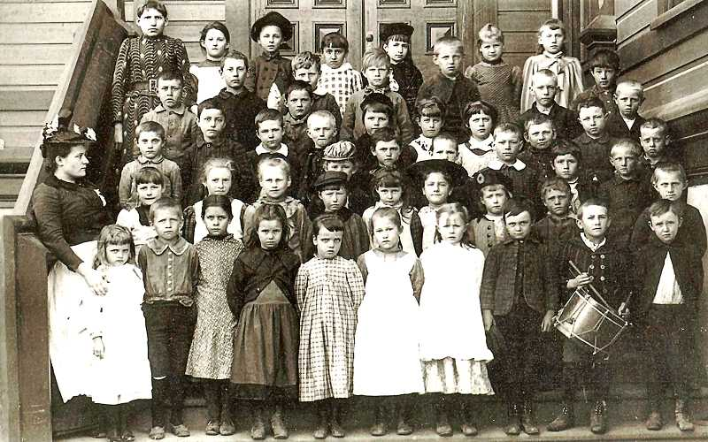 COURTESY BROOKLYN HISTORICAL SOCIETY - Heres a photo of Miss Hurlburts second grade class in 1891, when the original Brooklyn School first opened. Everyone was dressed in their Sunday best clothes for the photo, and even the little drummer boy was present for the snapshot.