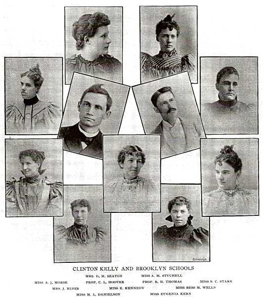 COURTESY DANA BECK COLLECTION - Young faculty members of both Brooklyn and Clinton Kelly Schools - from a school illustrated magazine in 1896. Teachers were so scarce then that those willing were accepted to teach at an early age, and with little if any experience. Most School Boards would only approve unmarried ladies as teachers, but in this photo its apparent that the Portland School District was more liberal in accepting teachers.