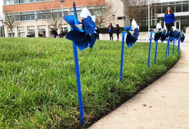 PHOTO COURTESY OF CLACKAMAS COUNTY - Blue and silver pinwheels planted in the circle between the county's public and development services buildings at its Red Soils campus signify each of the 534 cases of child abuse and neglect seen in Clackamas County in 2019.